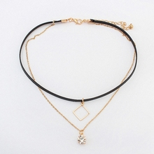 Buy New Fashion Retro Geometric star Pendant Collar Double chains leather simple choker necklace gift women girl 122772 for $1.16 in AliExpress store