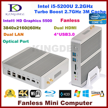 High speed fanless pc Intel Core i5 5200u 2.4GHz 16G RAM+256G SSD,Dual Lan/HDMI HTPC HD 4K,Intel HD Graphics 5500,Home computer