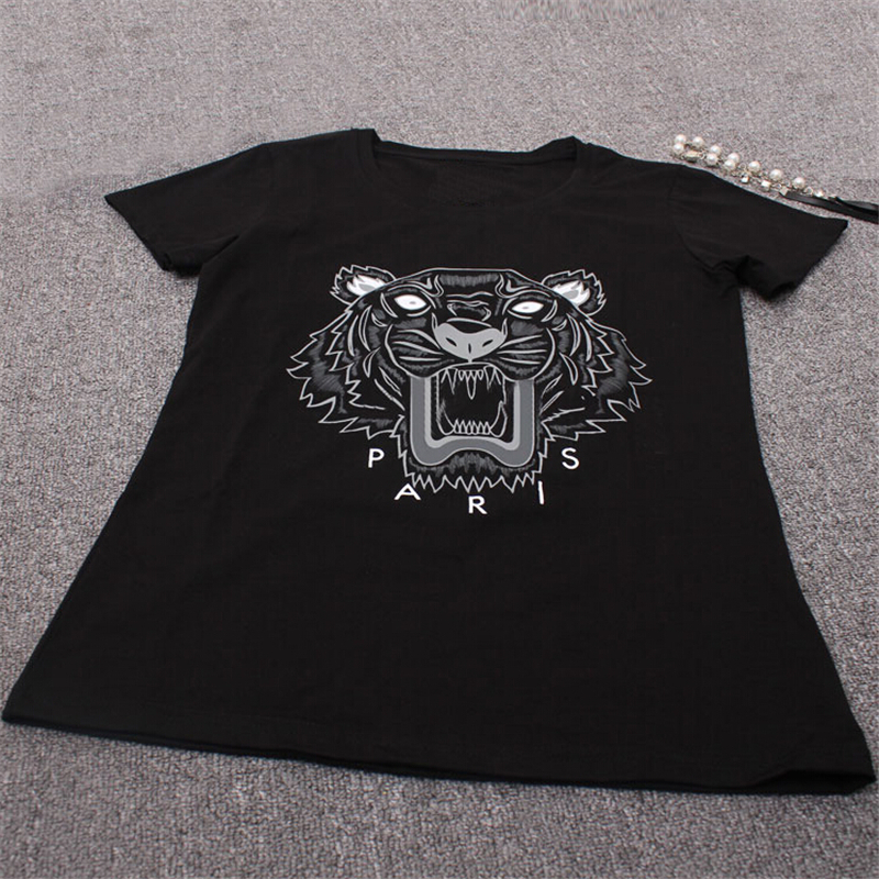 High Quality 2016 New Brand European Women Tiger Head Print T-Shirt Cotton Short-Sleeved T Shirt Female Tops & Tees Shirts(China (Mainland))