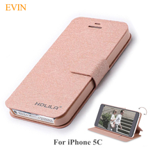 Fashion Silk Texture 5C Leather Case For Apple iPhone 5C Case Cover Flip Stand Slim Capa Coque Protective Phone Bag Accessories