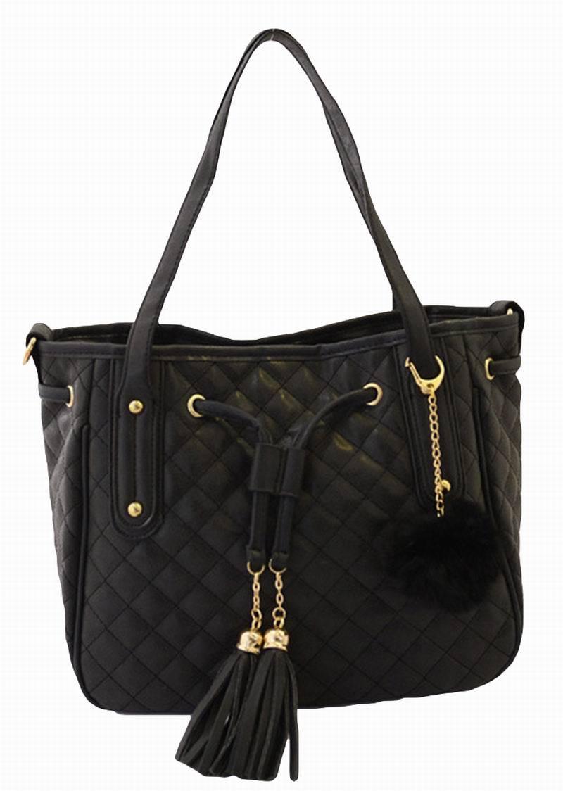 SSNH Women Bags Casual Fashion Tassel Diamond Lattice Soft Handbags Trendy Pink Brown Purple Black Shoulder Bag 5934(China (Mainland))