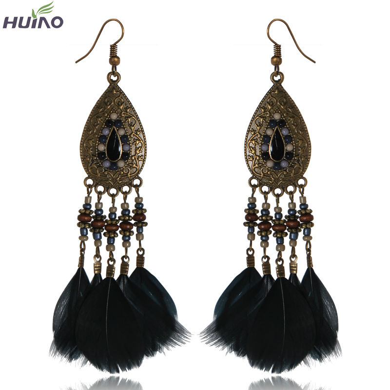 Black Oil Zinc Alloy Brown Plated Black Feather Jewelry Dangle Earring For Women 2016(China (Mainland))