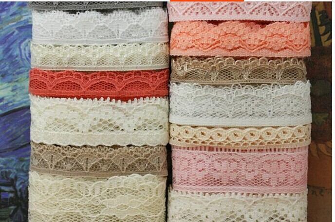 Hot sale 80 meters mix design lace fabric ribbon border for Sewing material for sale