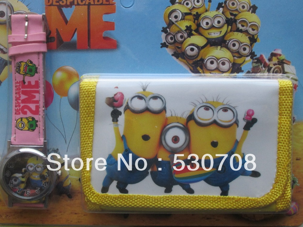 Despicable me 1pcsGod steal dads wallet table base my wallet table suit children electronic watch suit + zero purse(China (Mainland))