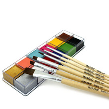 12 Flash Tattoo Color+6pcs Paint Brush Halloween Face Body Paint Oil Painting Art Cosmetic Make Up Set Tools Party Fancy Dress(China (Mainland))