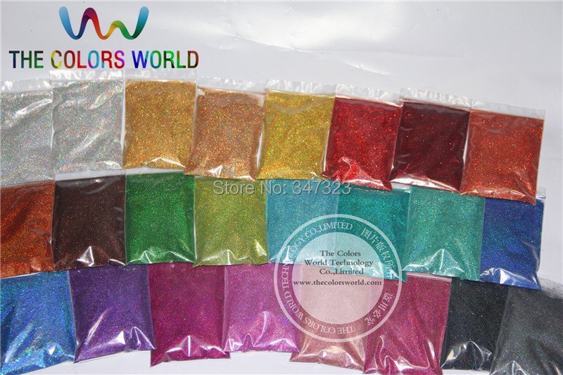 24 Laser Holographic Colors 0.1MM fine Glitter Powder for nail decoration and others DIY Accessories(China (Mainland))