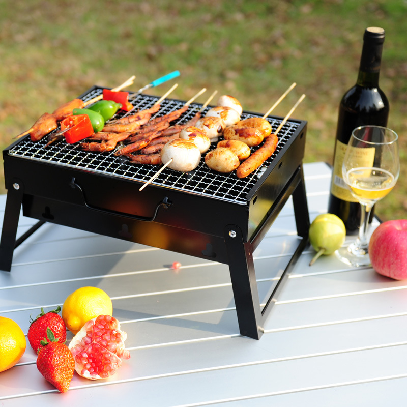 BBQ Grills 35*27*20cm 43*29*22cm Folding Outdoor Black Steel Hiking Camping Charcoal Grill Picnic BBQ Grill For Barbecue(China (Mainland))