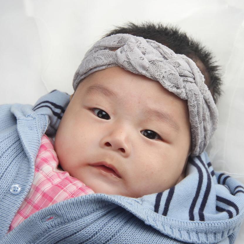 Stylish 2015 Elastic hairband Grey Lace Elastic Headband For 0 months to 4 years Baby Infants Girl(China (Mainland))