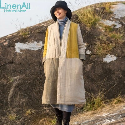 100% linen clothing womens yellow and gray V-neck pure linen long  trench coat  outerwear Одежда и ак�е��уары<br><br><br>Aliexpress