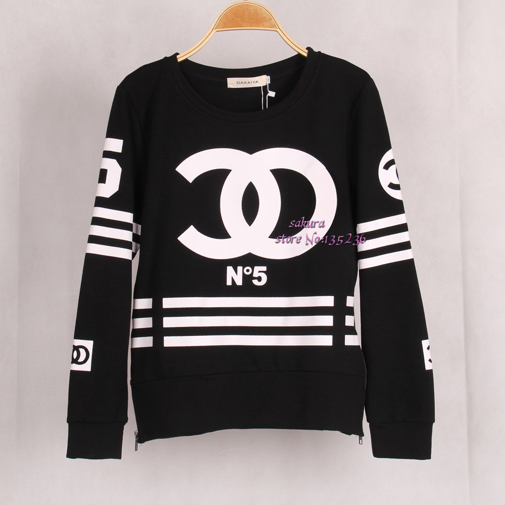 Free shipping women coco letters printed sweatshirt for Letters for sweatshirts