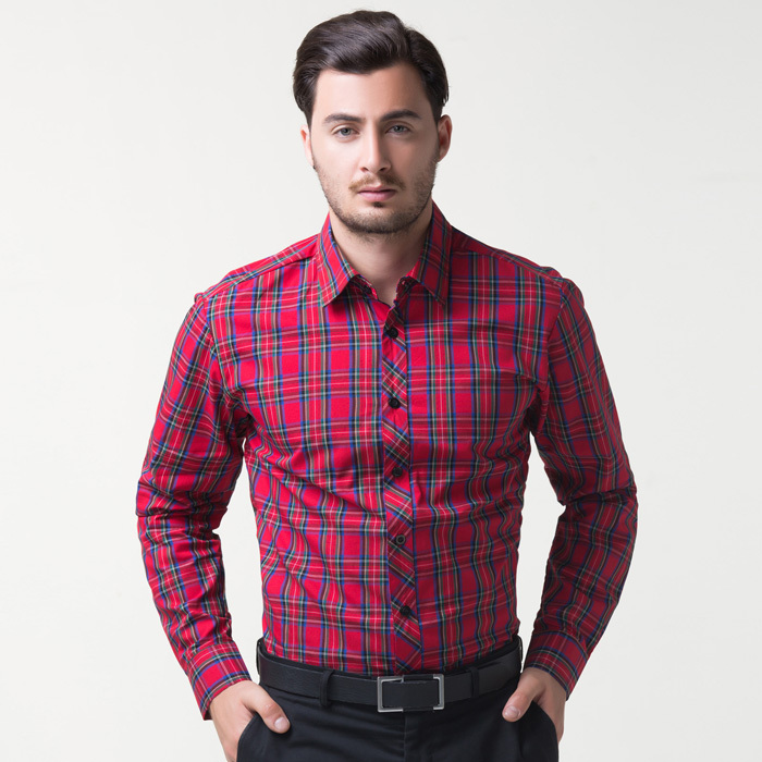 buy 2015 red mens long sleeve slim fit