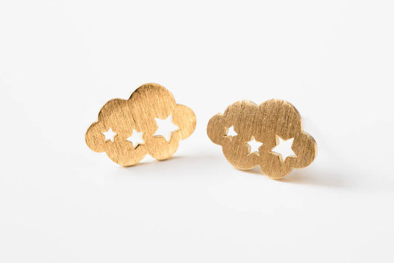 2015 Fashion Kids Earring Silver Plated Punk Unique Weather Jewelry Simple Cloud Stud Earrings(China (Mainland))
