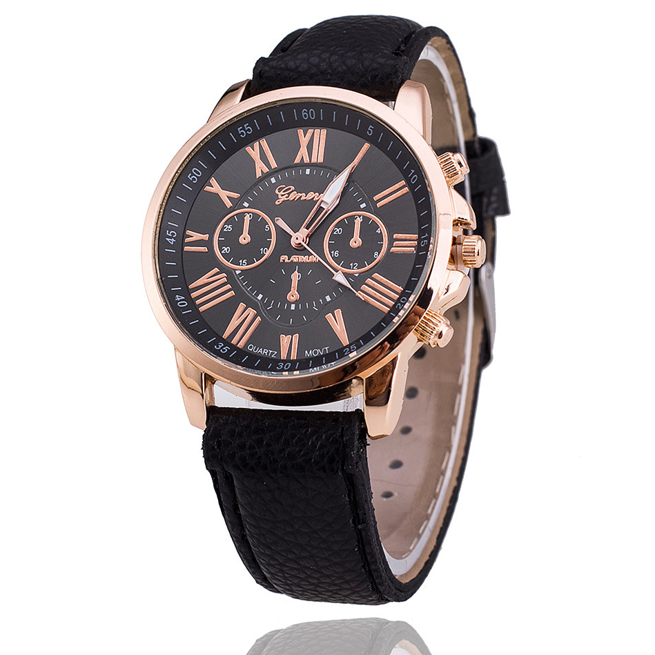 New fashion geneva watches women dress watches leather strap casual quartz watches relogio for Watches geneva