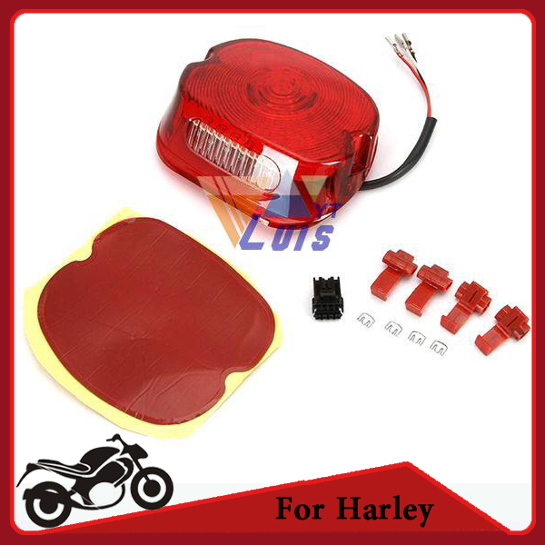Red Motorcycle Chopper Rear Tail Light Brake License Plate Running Light for Harley Davidson Sportster Road King Dyna Glide(China (Mainland))