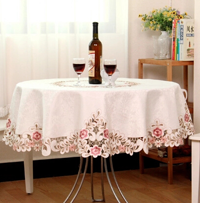&339 220cm/86inch Beauty hot embroidery round table cloth hotel cloth tablecloth voile ornament table mat 809(China (Mainland))