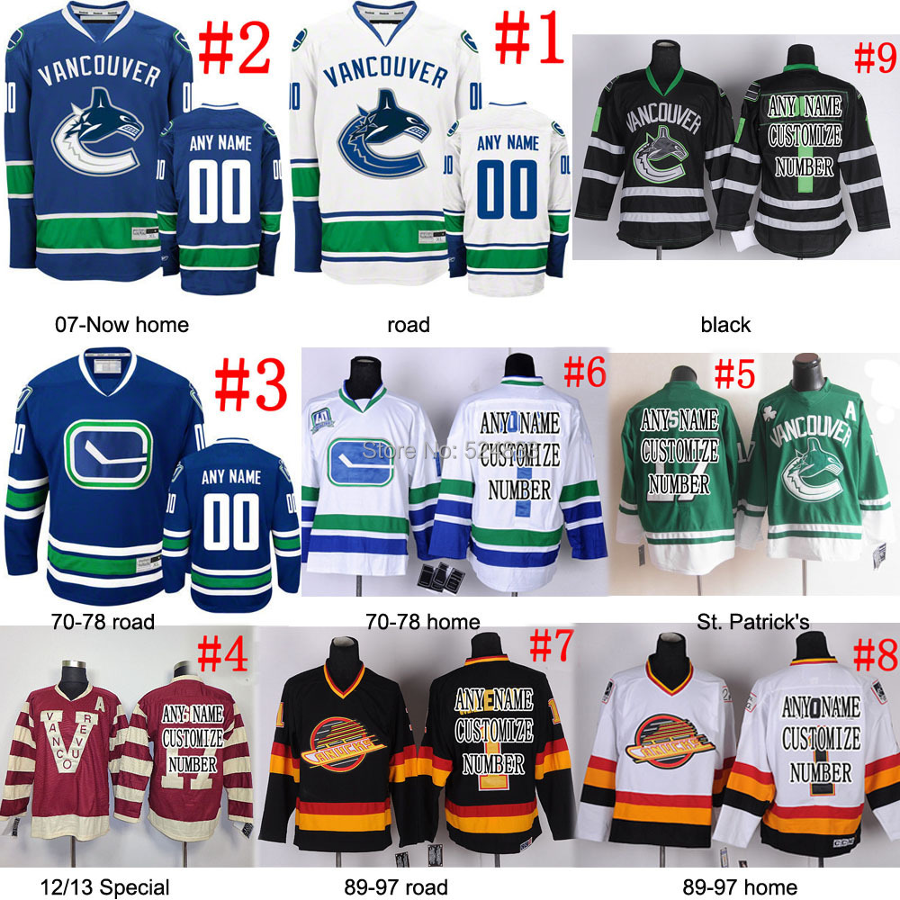 Custom Vancouver Canucks hockey Jersey men/kids discount WHITE/BLUE/HOME ice hockey jersey China Sew On ANY player Name/NO./SIZE<br><br>Aliexpress