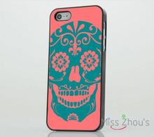 Candy Sugar Skulls Pattern Pink Blue skins mobile cellphone cases cover for iphone 4/4s 5/5s 5c SE 6/6s plus ipod touch 4/5/6