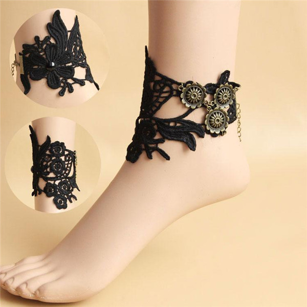 2015 новое Tornozeleira FeМиниnas ручной работы готические кружева цветок ноги браслет ...