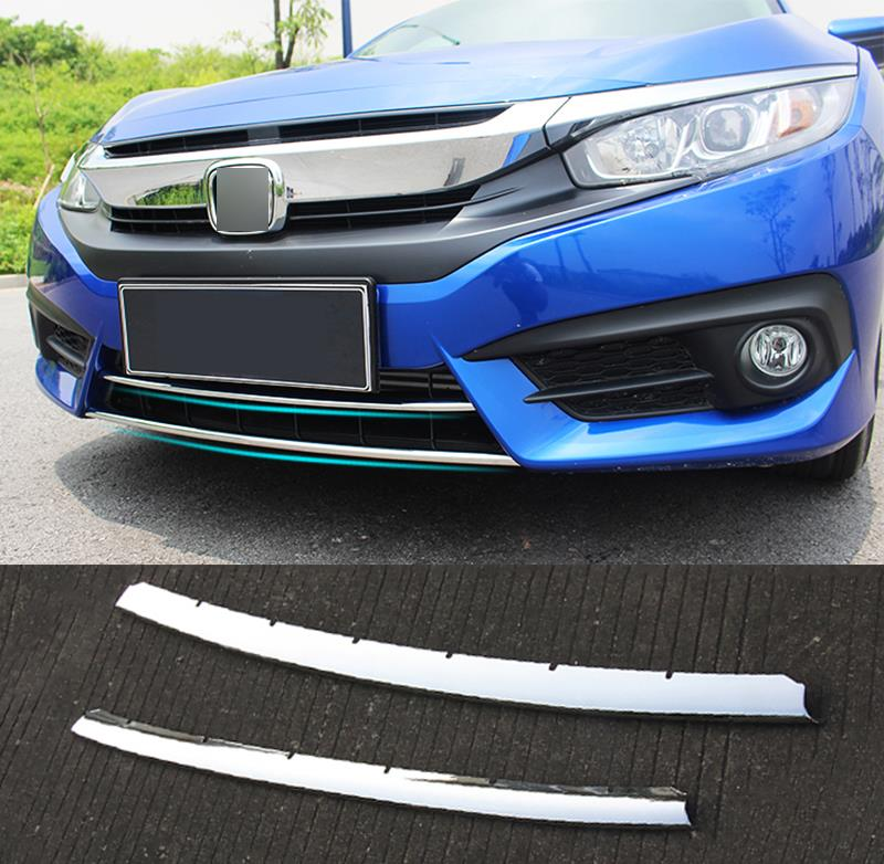 2PCS FIT FOR 2016 2017 HONDA CIVIC CHROME FRONT LOWER BUMPER LIP GRILL COVER INSERT PROTECTOR MOLDING TRIM GRILLE GARNISH GUARD(China (Mainland))