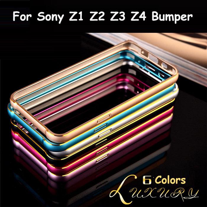 Z1 Z2 Z3 Z4 Funda Luxury Ultra Thin Slim Golden Edge Aluminum Bumper Case For Sony Xperia Z1 Z2 Z3 Z4 Metal Frame Phone Cover(China (Mainland))
