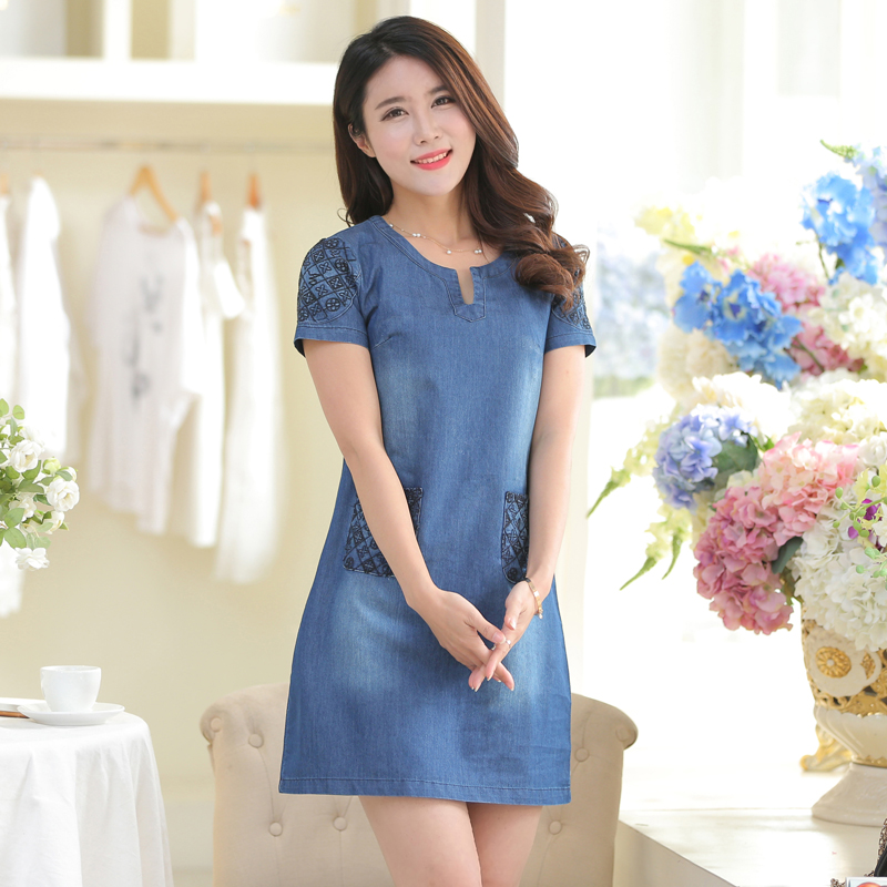 Women's Denim Dress Summer 2017 New Fashion Embroidery Short-sleeve Slim Thin Denim One-piece dress Girl Plus size Free shipping(China (Mainland))