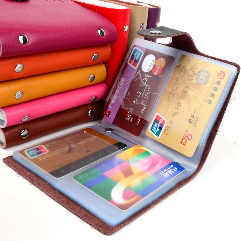 Hot Sale!! 40 Slot Hasp Genuine Leather Business Credit Card Case ID Card holder Checkbook Card Holder Wallet For Women Men(China (Mainland))