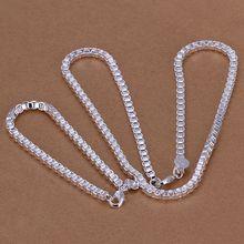 925 sterling silver jewelry set, fashion jewelry set 4Mm Box Chain /dfkalwra cnsaleza S026