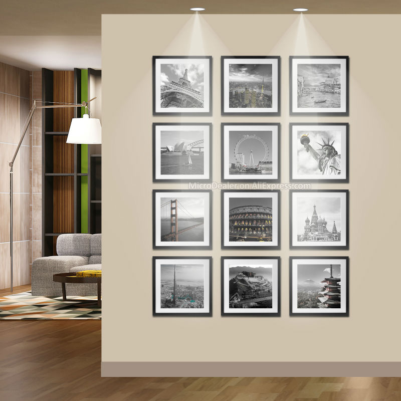 wooden square photo wall frames id 30cm30cm picture frames with passe partouts 12pcs