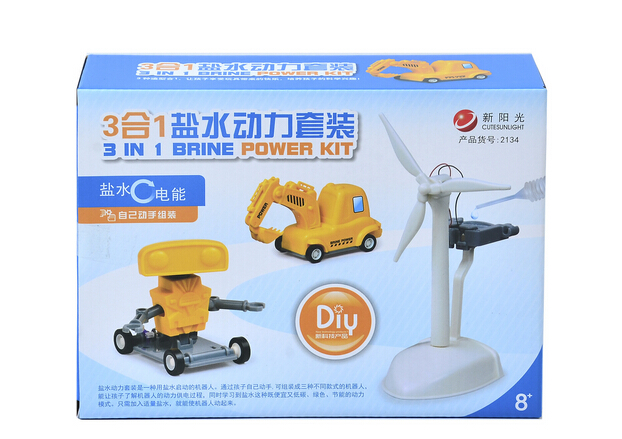 Fancy new science toys Triad salt water power plant DIY robot truck(China (Mainland))