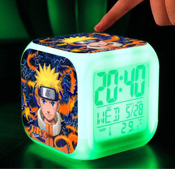 Naruto dolls 7 Colors Change Digital naruto kunai Thermometer Night Alarm Clock naruto action figure toys hot naruto weapons toy(China (Mainland))