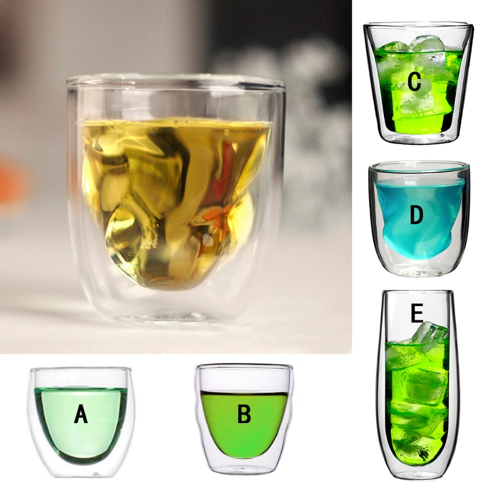Multi Shaped Transparent Double Wall Glass Cup Juice Beer Shot Glass Tumbler Coffee Cups Espresso Glass Tea Cup Mug Lead Free(China (Mainland))