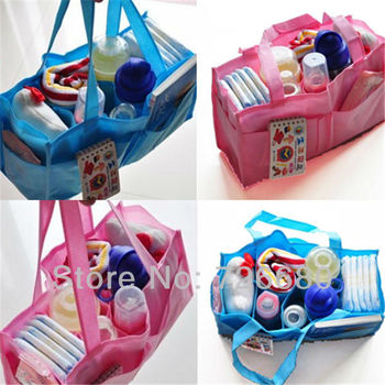 Free shipping! Mums Hand Organiser Bag Large Baby Nappy Changing Bags Insert Pocket Storage Shopping Bags 128-0014