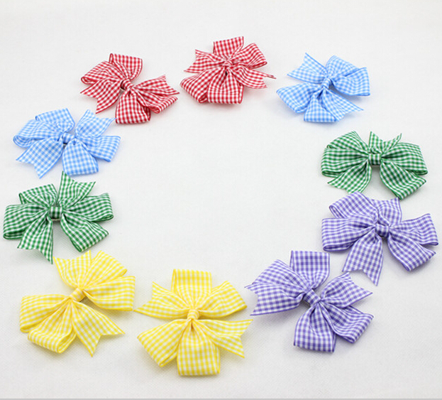 New Plaid Boutique Hair Bow with Clips for Girl Hair Accessories Fashion DIY Baby Hairbow 30pcs/lot Free Shipping(China (Mainland))