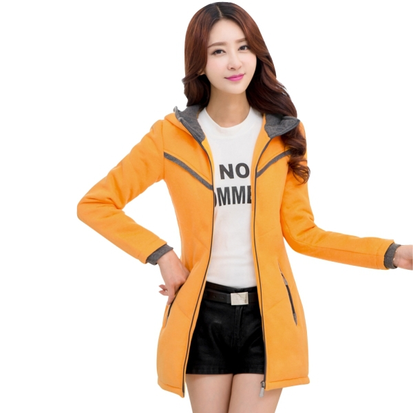 Hot Sale 2015 Lady Long Coats Zipper Up Two Pockets Big Size L-4XL Women Hooded Outerwear Elegant Lady Spring Autumn Coats(China (Mainland))