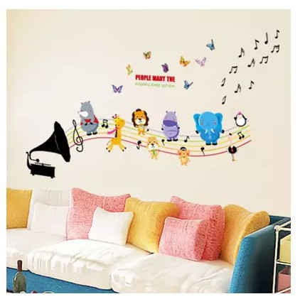 2015 New Wall Stickers Pegatinas De Pared Multicolour Cartoon Girl Child Music Notes Decorative Painting Wall Stickers Hot Sale(China (Mainland))