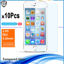 10pcs/lot Tempered glass For Apple Iphone 5 5s 5c Explosion-Proof Screen Protector For Iphone SE 0.2mm Film for iPhone 5s