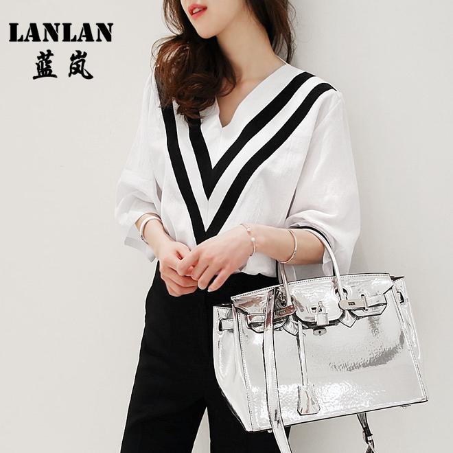 Korean Designer Tops Chiffon Blouse Summer Style Blusa Feminina Casual V-neck Striped Work Blouses V-neck White Shirt Women Tops(China (Mainland))