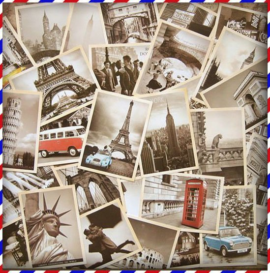 Free Shipping Famous Building Vintage style poster memory postcard set / Greeting Cards/ gift cards/Christmas 5 set/lot(China (Mainland))