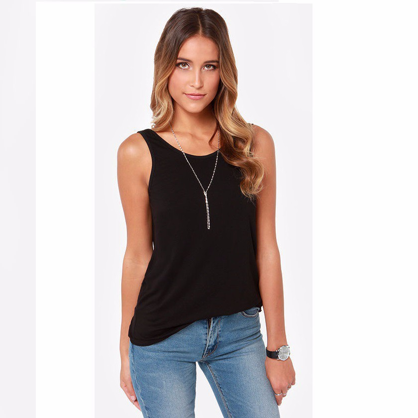 summer style sexy low o neck womens t shirt tank top loose