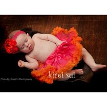 Lot 10 Pcs - Baby Ruffles Pettiskirt Tutu Skirt - Hot Pink Orange One Size NB-6M(Hong Kong)