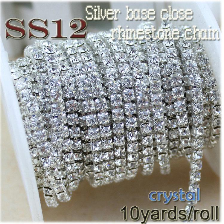 new deals charming crystal rhinestone diy beauty SS12 10YARDS/ROLL 3mm fashion accessories clear close rhinestone cup chain(China (Mainland))
