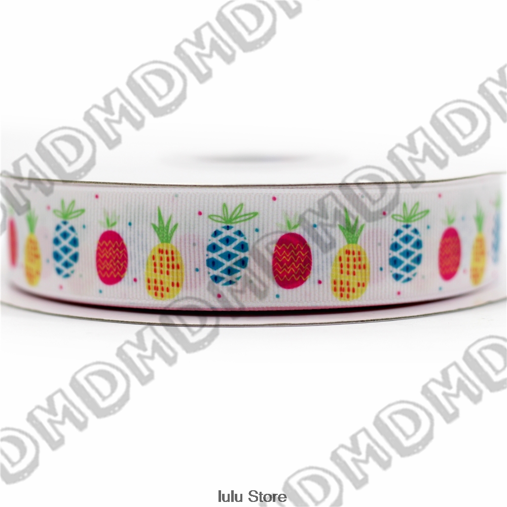 6mm-75mm cute pineapple printed grosgrain ribbon 22mm 25mm /fruit elastic band decorative handmade hair bows 50 yards MD5443(China (Mainland))