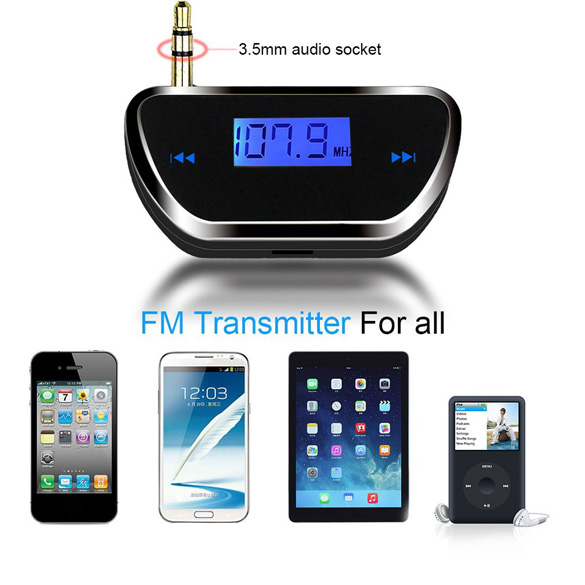 Wireless 3.5mm Car LCD Display FM Transmitter Audio Radio fm Transmitter for Smart Mobile Phone(China (Mainland))