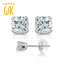 GemStoneKing 1/3 Ct Round Cut 14K White Gold Real Diamond Stud Earrings For Women Fine Jewelry(China (Mainland))