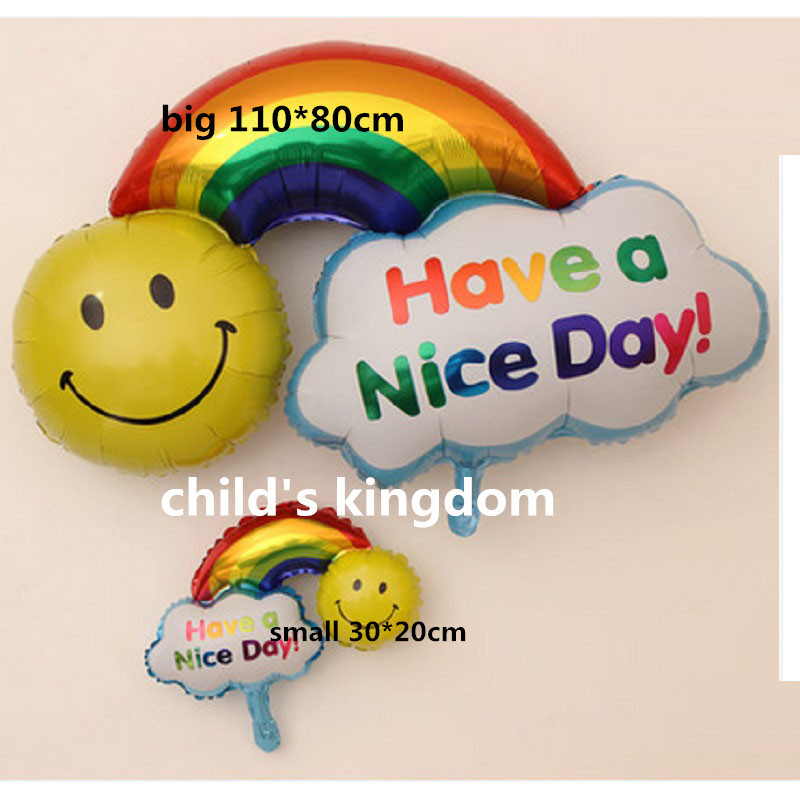 Large size Smile Face Rainbow Foil Balloons double size Happy Birthday Wedding Decoration Globos balls Have A Nice Day kids toys(China (Mainland))