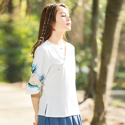 2016 National Style Hand Drawing Cotton Linen Tops Women V-Neck Half Sleeve Plus Size Loose T-shirt Lady Elegant Slim Tees Femme(China (Mainland))
