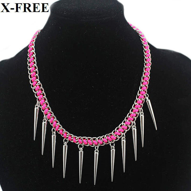 Silver spike shark tooth pink yellow rope chain statement necklace handmade cheap costume jewelry N327(China (Mainland))