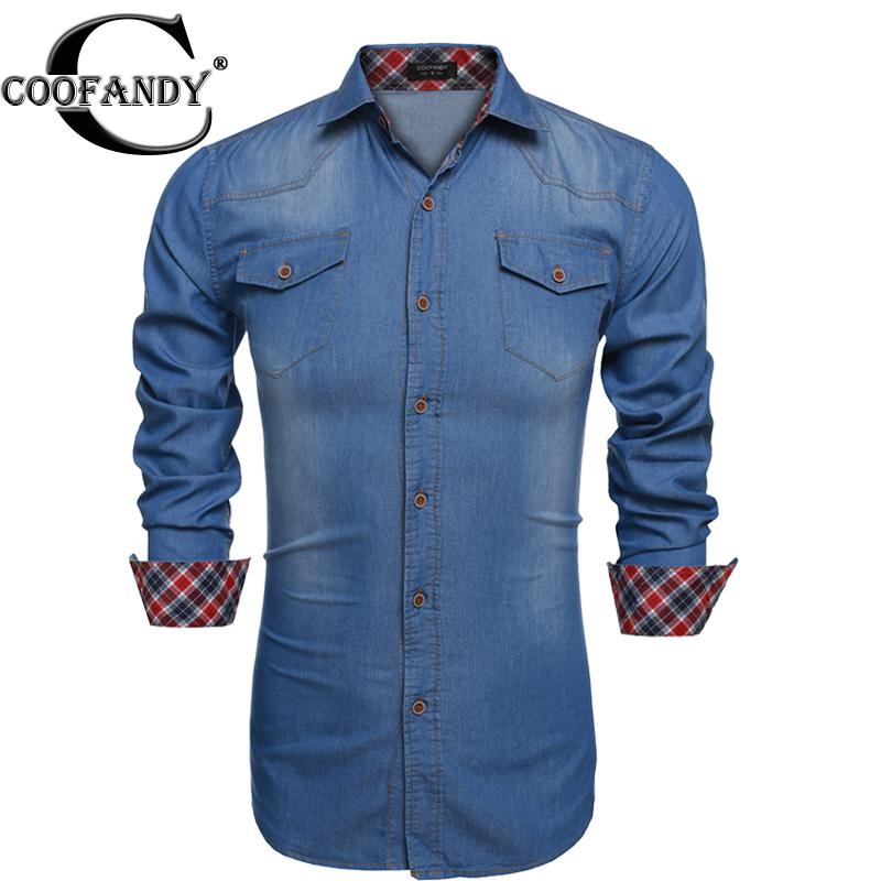 Coofandy Plus Size Camiseta Masculina 3XL Cotton Slim Brand Denim Shirts for men 2016 New Long Sleeve Blue Gray Chemise Homme(China (Mainland))