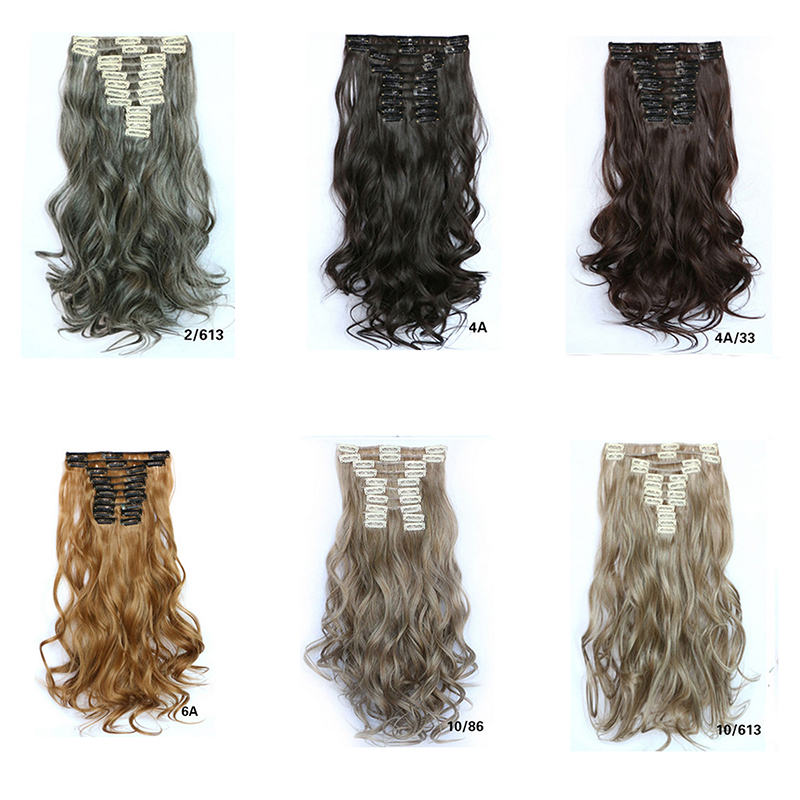 Sexy Women 12 Clips in Hair Extensions Fluffy Wavy 55cm Long Natural Synthetic Hairpiece Hair Piece Heat Resistant Hair Clips(China (Mainland))
