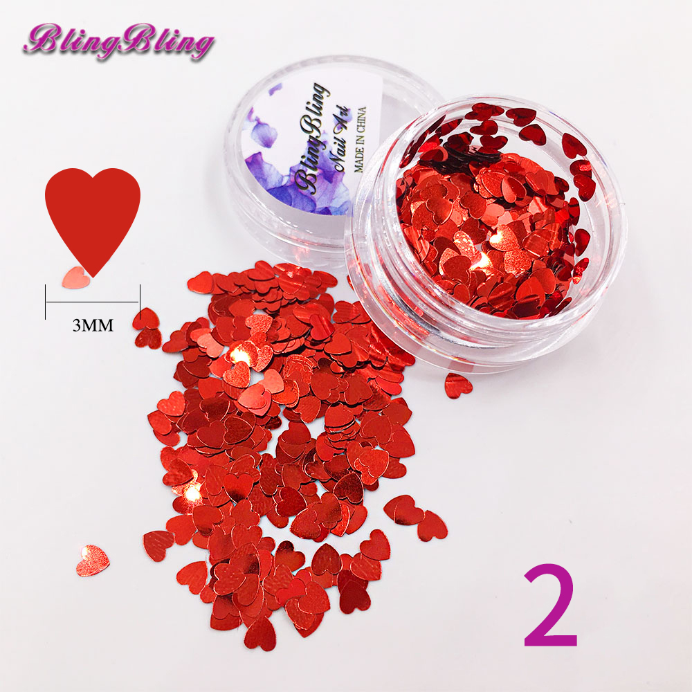 1 Box Heart Sequins Nail Glitter Red Green Pink Color Nail Art Tips Manicure Nail Decorations 3MM 12Color(China (Mainland))